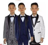 회색 소년 턱시도 소년 저녁 정장 3 피스 소년 검은 숄 옷깃 정식 양복 턱시도 어린이 턱시도