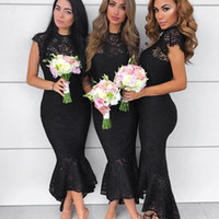 Graceful Black Lace Bridesmaids Vestidos Jewel Neck Sleeveless Zipper Back Wedding Guest Dress Moda Hi-Lo Mermaid Prom Party Dress Cheap