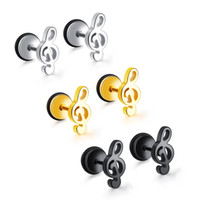 Screw- on Music Note Earrings in Stainless Steel Treble Clef ...