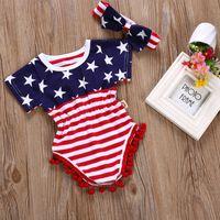 여름 7 월 4 일 아기 소녀 Romper 어린이 의류 머리띠 2pcs와 함께 설정 미국 국기 독립 기념일 짧은 슬리브 원피스