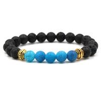 2018 Nouveau Yoga Lava Rock Bracelets Turquoise Altération Agate Plaqué Or Bracelets Pour Femmes Hommes Cadeau KKA1884