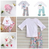 Easter Day Kids Cotton Clothes Set Bird Bunny Embroidery Whi...