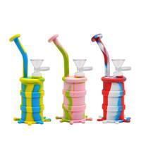 실리콘 워터 파이프 유리 봉 실리콘 봉수 물 담뱃대 실리콘 배럴 장비 흡연 허브 허브 불안정한 물 Percolator Bong 흡연유