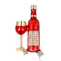 النبيذ الاحمر كأس النبيذ زجاجة شكل بروش كريستال المينا دبابيس للنساء الرجال القبعات دعوى الاكسسوارات حزب مجوهرات