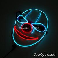 Ücretsiz kargo Ses Yanıp Parlayan Palyaço Maskeleri Yanıp 10 renkler Mevcut Cadılar Bayramı Rave Maskesi Noel Partisi için El Tel Maske dekor