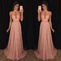2018 Blush Pink Prom Dresses Deep V- Neck High Neck A- Line Ch...