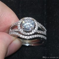 Новые 2016 женщин 10KT белого золота заполнены Simulated Diamond Zircon Gemstone Finger Rings установить Alluring Brilliant Wedding Cocktail Jewelry