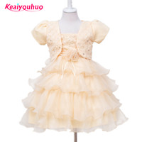2016 New 6 colors Lace Tulle Flower Girl Dress Little Princess Communion Dress Children Clothing Girl Ceremonies Wedding Gown