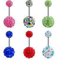 Edelstahl Bauch Baumeln Ring Shambhala Bell Button Nabel Ringe Einfache Design Strass Körper Piercing Modeschmuck Großhandel 0871WH