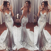 New Coming Sexy Silver Bling Beautiful Evening Dresses Spagh...