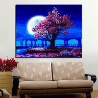 Handpainted Romantic Moon Night Pink Tree Landscape Oil Pict...