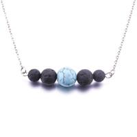 8styles лавы камень бирюзовый шарик ожерелье эфирное масло диффузор вулканический рок Ожерелье для женщин ювелирные изделия