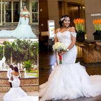 2018 Africano Plus Size Abiti da sposa Spaghetti cinghie Appliques di pizzo Beadding Capped Abito da sposa a sirena A strati Tulle Abiti da sposa lunghi