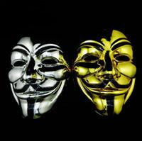 золото и серебро V маска Вендетта черное золото Маска с подводка для глаз анонимный парень Фокс необычные взрослый костюм Хэллоуин маски SN426