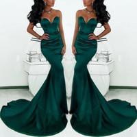 Ucuz Sevgiliye Uzun Zümrüt Yeşil Mermaid Elbiseler Akşam Aşınma 2018 Saten Kadınlar Için Özel Durum Balo Parti Elbise