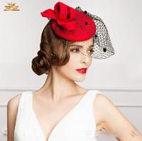 아름 다운 붉은 색 신부 모자 파티 칵테일 여성 매혹적인 파티 결혼식 넷 베일 신부 사랑스러운 Eoupean 스타일 켄터키 더비 모자