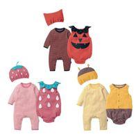 Unisex Bebek Giysileri Sonbahar Çilek Arı Kabak Romper + Yelek + Şapka Set Kıyafet Bebek Tulum Cadılar Bayramı Purim Cosplay Kostüm