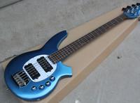 (2 픽업 포함) 도매 사용자 정의 금속 블루 (5)베이스 전기 기타 줄, 흰색 진주 픽업, 저울, 개인 인용 자체 로즈 우드