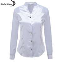 Moda Jihan New Design Women Blouses & Shirts White Black Long Sleeve Chiffon Splice Satin Office Tops Slim Style V Neck Female