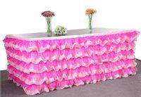 Лучшие продажи таблица юбка день рождения украшения 275*80 см тюль таблица юбка свадебный стол юбка домашний текстиль 6 цветов