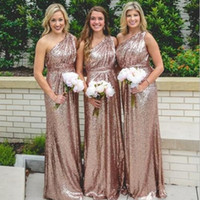 Rose Gold Sparkly Bridesmaid Dresses Sexy One Shoulder Sequi...