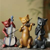 Novel Three Cats Band Ornament Resin Furnishing Articles Roo...