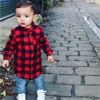 Bebé Niños Blusas Ropa para niños Niñas Camisa de manga larga Cuadros Cheques Blusa Traje