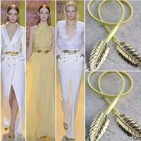 Hot Wedding Stehs Belt Design Design Chiusura front stretch in lega metallica cintura in metallo magro foglie elastiche vestito cummerbund oro argento cinturino