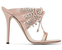 22fff1bdb25d Luxury Design Crystal Wedding Shoes Women Satin Party Dress High Heels Bling  Cross-tied Women Sandals Sexy Stage Gladiator Shoes