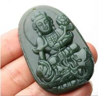 Naturale Real HeTian Yu Intagliato Cinese Otto Amulet Buddha Kwan-Yin Fortunato Pendente + Collana Corda per donna gioielli da uomo