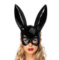 Cosplay Cara Ojo encaje Velo Máscara Diadema conejo conejo oreja larga hairband Fiesta de Navidad de Halloween disfraces bola Mascarada accesorios nuevo regalo