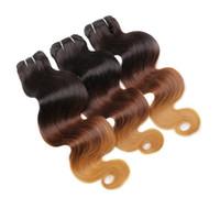 1b 4 27 feixes de cabelo três tons 27 cor corpo onda do cabelo humano tece cabelo virgem peruano 3 pçs / lote Ombre unprocess trama