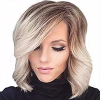Z&F Short Bob Wigs Bangs Side Part Synthetic Wigs For Hot Wo...