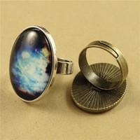 100 Stück Alloy Einstellbare Ring Bases Rohlinge 18 * 25mm Cabochon Ringe Einstellungen Antique Bronze / Antique Silver Schmuck Komponenten