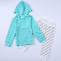 Hooded Girls Clothing Sets 95% Cotton Solid Long Sleeve Kang...