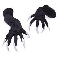 Armbåge längd satin långa handskar med glänsande silver naglar halloween cosplay tillbehör klo handskar för kvinnor