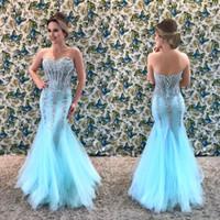 Muhteşem Mermaid Boncuklu Kristaller Abiye Sevgiliye Tül Sparkly Balo Abiye Seksi Düğün Konuk Elbiseler