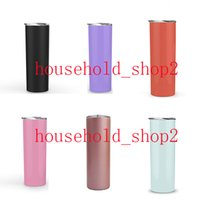 20OZ skinny tumbler vacuum straight water cups with straws s...