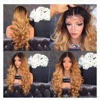 Heat Resistant Middle Part Ombre Wig Glueless Blonde Body Wa...