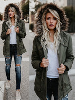 Kadınlar Sıcak Kalın Ceketler Kürk Yaka Şapka Pamuk-Yastıklı Sonbahar Kış Ceketler Ceket Cepler Tasarımcısı