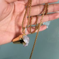 New Europe and America Hotsale Men Hiphop Necklace 18K Yello...