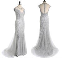 Высокая-конец обычай чисто ручной бисером мода бальное вечернее платье новый сексуальный рыбий хвост пакет хип серебристо-серый кружева бальное платье красоты платье HY068
