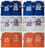 Herren Florida Gators College Football Jersey Vintage Home Blue 22 E.Smith Emmitt Smith 15 Tim Tebow Nähte Fußballhemden