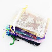 Organza Jewelry Bolsas de la bolsa de regalo de boda 7x9cm 3X4 pulgadas Color de la mezcla para fiesta de vacaciones Año nuevo Uso slivery butterfly