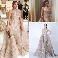 Pailletten-Applikationen Meerjungfrau-Overkirt Abendkleider 2018 Dubai Arabisch High Neck Plus Größe Gelegenheit Prom Party Kleid