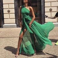 Sexy One Shoulder Long Chiffon Evening Dresses Pleat Front Split Bow Sexy Prom Party Dress Floor Length In Stock 2018 New Arivals