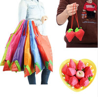 Hot Eco Storage Handväska Jordgubbar Vikbara Shopping Väskor Återanvändbar Fällbar Livsmedelsaffär Nylon Stor Väska 8 Färger