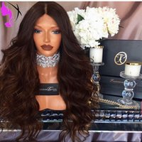 Stock 180 Density Glueless Wavy Wig 30Inch Synthetic Ombre b...