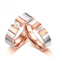 Rose Gold Color Promise Couple Rings For Women Men Elegant S...