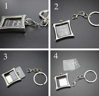 Metall fotoinsats ram nyckelringar nyckelring gåvor runt hjärtat oval form zink legering nyckelring blandad slumpmässigt